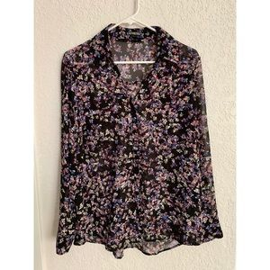 Express Semi-Sheer Black Floral Blouse